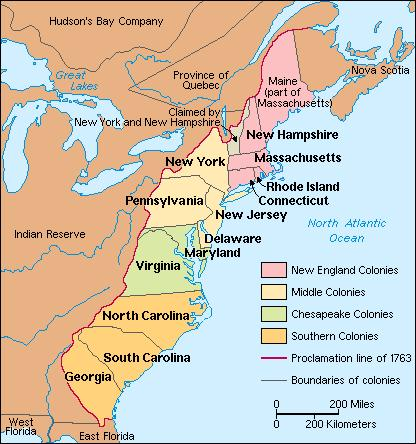 MAP OF ORIGINAL COLONIES - Original thirteen colonies map
